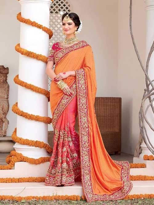 Orange and Peach Colored Beautiful Embroidered Two Tone Silk Georgette Saree