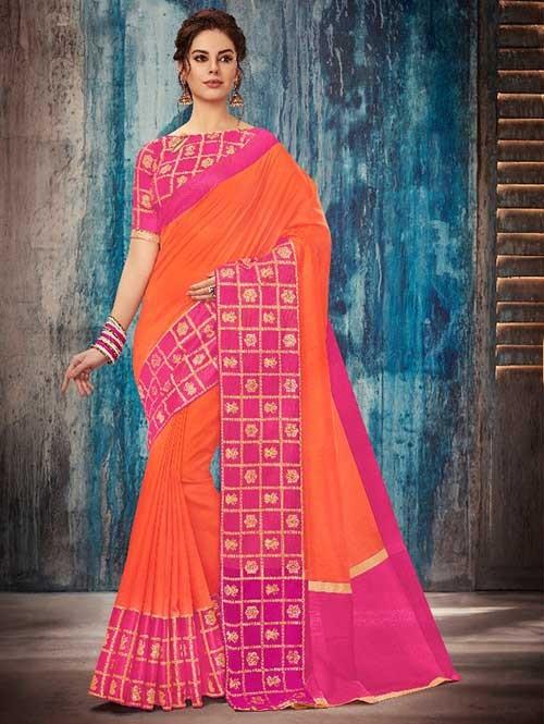 Orange and Pink Colored Beautiful Banarasi Silk Saree With Rich Blouse