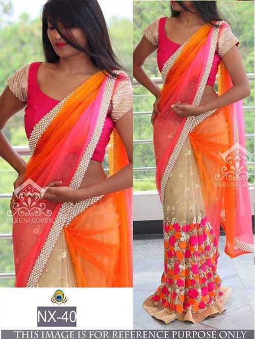 b5a453b939 Orange and Pink Colored Beautiful embroidered Georgette Saree with  Beautiful Blouse