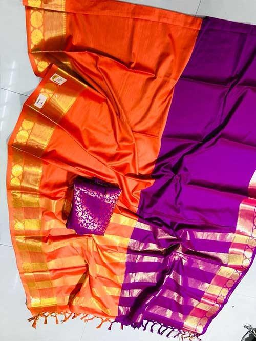 Orange and Purple Colored Beautiful Pure Silk Cotton Saree