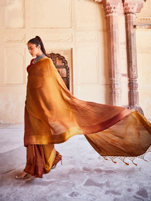Chiffon With Satin Patta And Designer Blouse