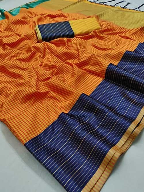 Orange Color Beautiful Chex Printed Banarasi Silk Saree