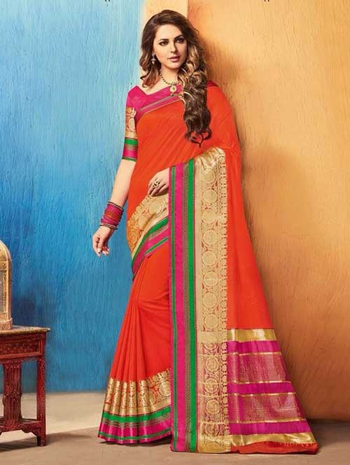 Orange Color Beautiful Cotton Silk Saree