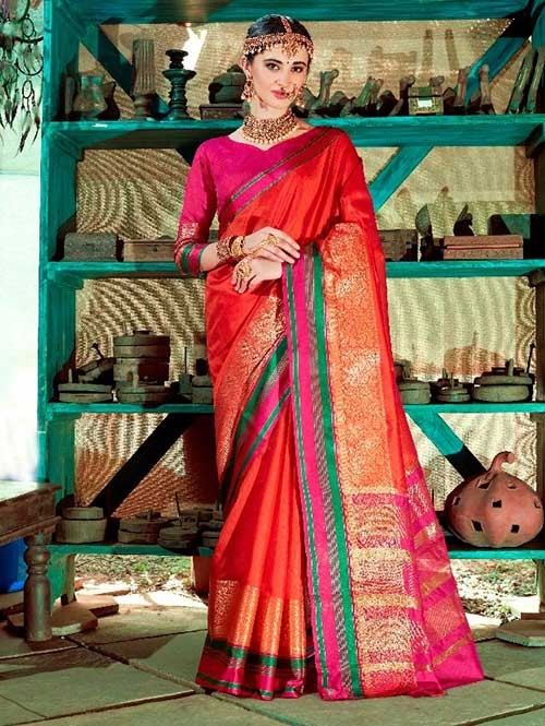 Orange Color Beautiful Handloom Waving Silk Saree