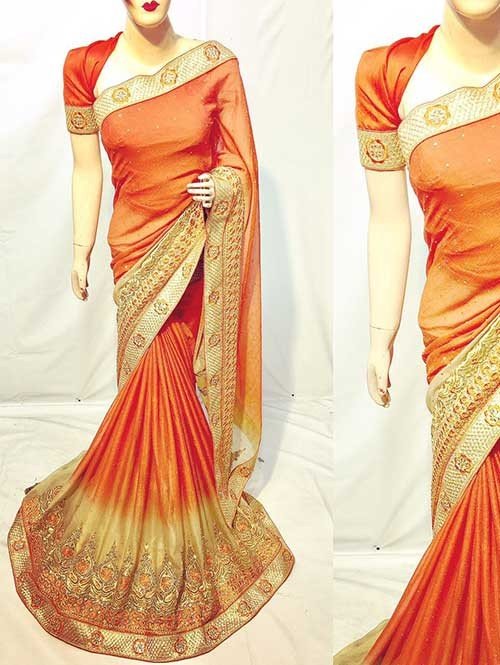Orange Color Beautiful Soft Chiffon Fabric Saree With Two Tone Effect Also Have Embroidery and Stone Work