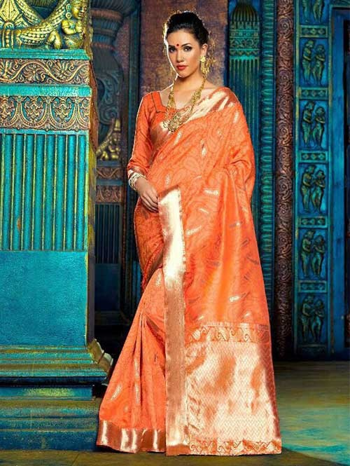 Orange Color Beautiful Waving Silk Saree