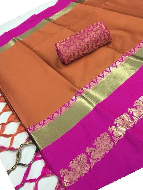 Orange Color Beautiful Weaving Cotton Silk Saree