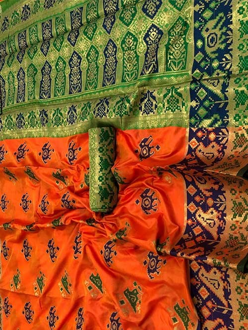 Orange Color Beautiful Weaving Cotton Silk Saree - Patola
