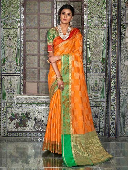 Orange Color Beautiful Weaving Silk Saree - Kaanch