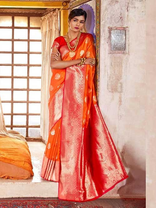 Orange Color Beautiful Weaving Silk Saree - Karveena