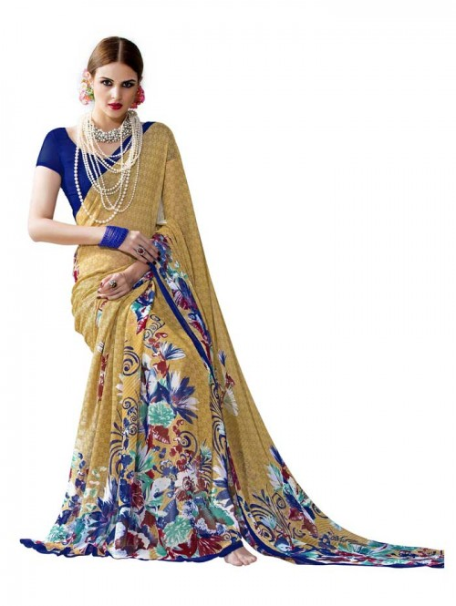 Orange Color floral Printed Beautiful weightless saree with Blouse