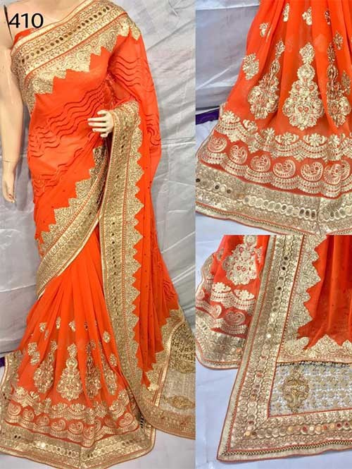 Orange Color Heavy Embroidered gorgeous Pure Bemberg saree for Traditional Wear