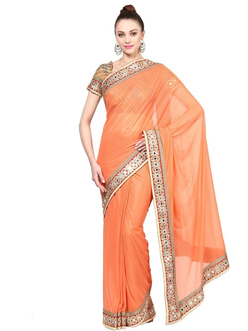 Orange Color Plain Lycra Saree Has Classy Border