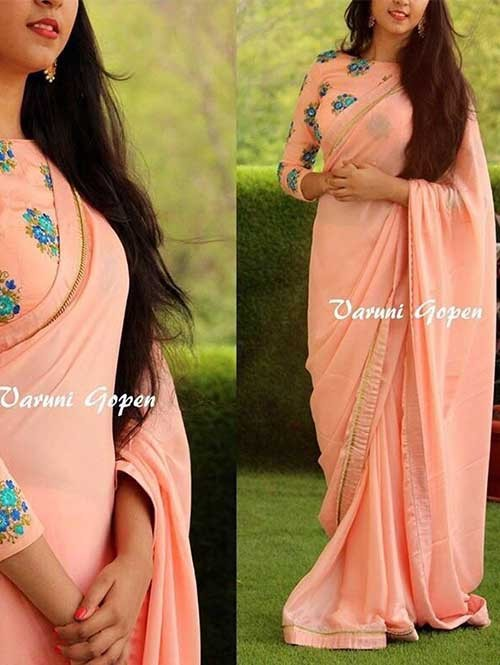 Orange Colored 60Gm Georgette Saree Which Has Beautiful Border