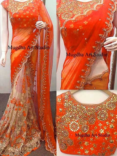 Orange Colored Beautiful 60gm Georgette and Nylone Net Saree