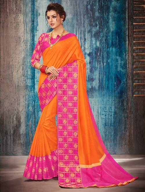 Orange Colored Beautiful Banarasi Silk Saree With Rich Blouse