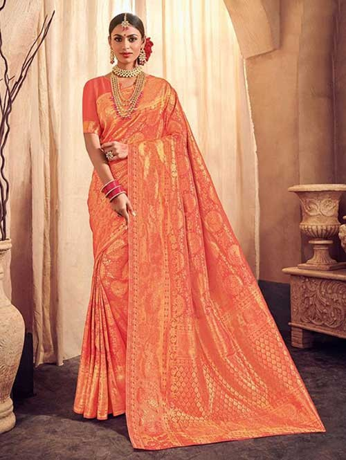Orange Colored Beautiful Branded Weaving Brocade Silk Saree - Queen