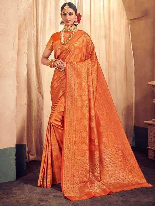 Orange Colored Beautiful Branded Weaving Brocade Silk Saree - Queen