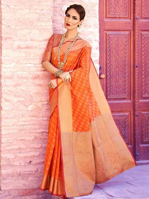 Orange Colored Beautiful Branded Weaving Silk Saree - Krystal