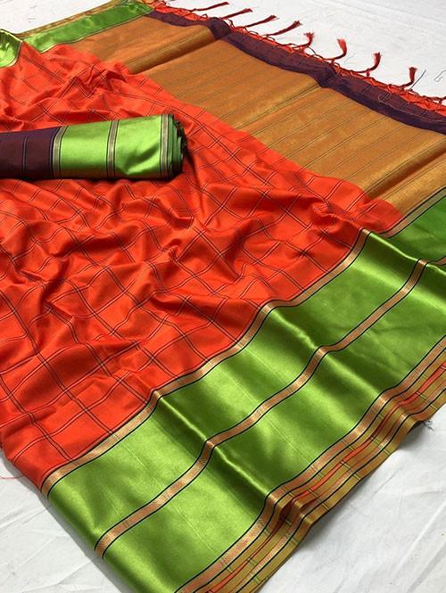 Orange Colored Beautiful Branded Weaving Silk Saree - Vedika