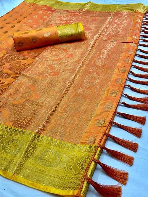 Orange Colored Beautiful Branded Weaving Soft Nylon Silk Saree -