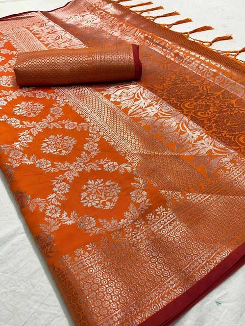 Orange Colored Beautiful Branded Weaving Soft Silk Saree