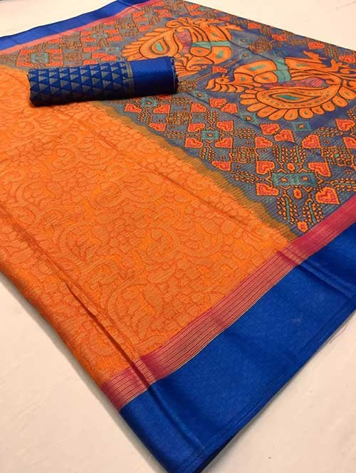 Orange Colored Beautiful Brasso Soft Silk Fancy Saree With Kalamkari - Kudrat