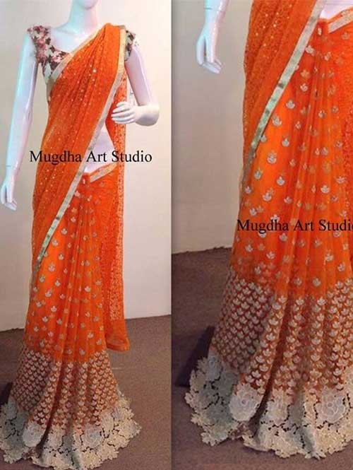 Orange Colored Beautiful Embroidered 60 gm Georgette Saree