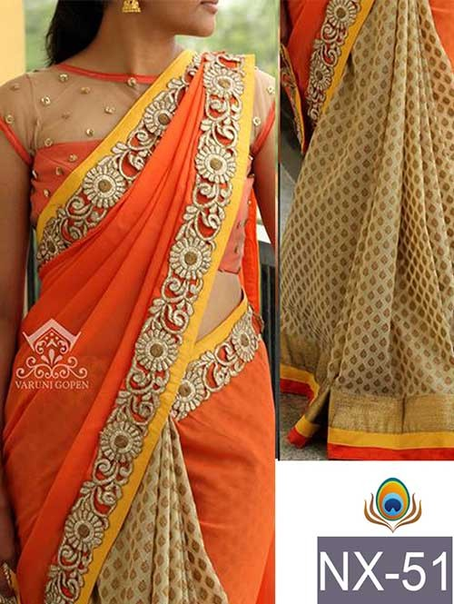 Orange Colored Beautiful Embroidered Border Georgette and Viscose Butti Saree