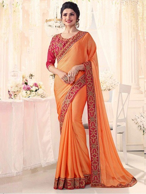 Orange Colored Beautiful Embroidered Golden Silk Saree