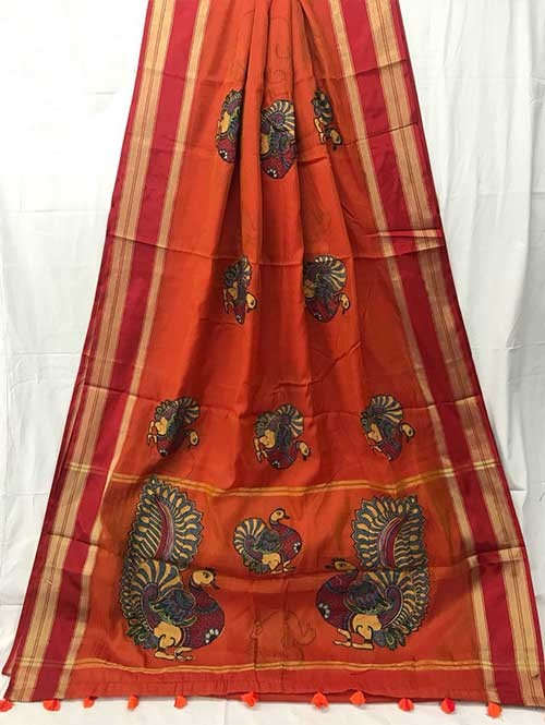 Orange Colored Beautiful Embroidered Cotton Saree