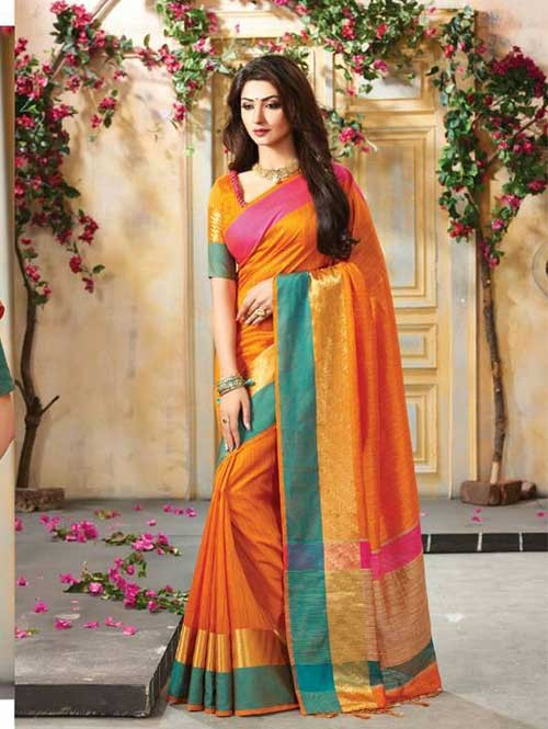Orange Colored Beautiful Embroidered Cotton Saree With Matching Blouse