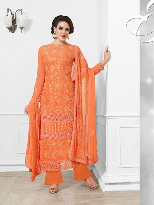 Orange Colored Beautiful Embroidered Faux Chiffon Suit