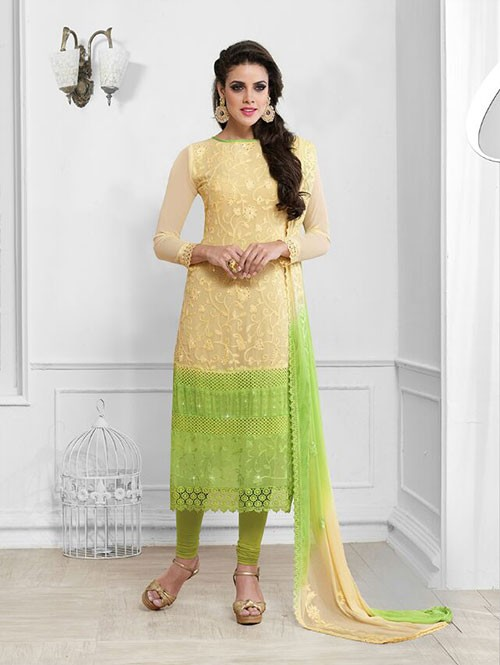 Beige and Green Colored Beautiful Embroidered Faux Chiffon Suit