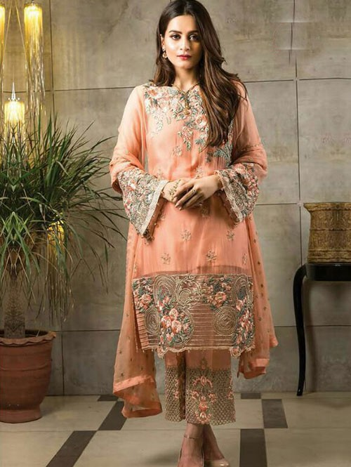 Orange Colored Beautiful Embroidered Faux Georgette Pakistani Suit