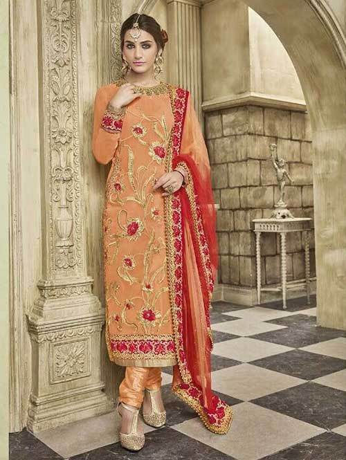 Orange Colored Beautiful Embroidered Faux Georgette Salwar Suit With four side embroidery less with latkan Dupatta