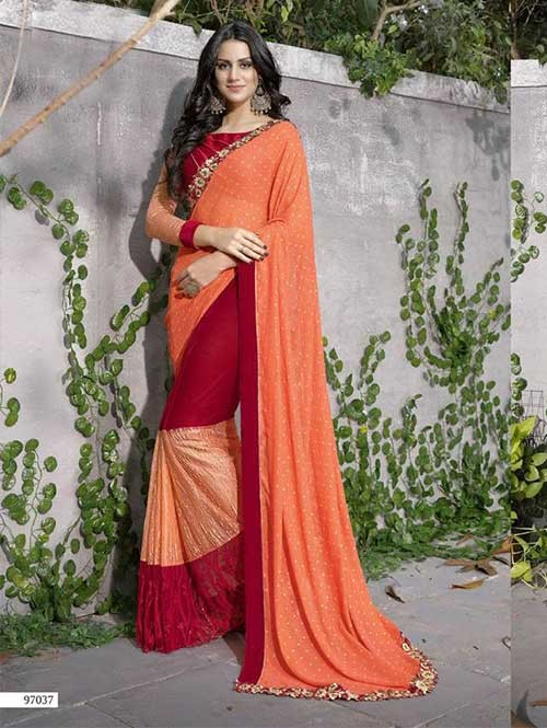 Orange Colored Beautiful Embroidered Faux Georgette Saree