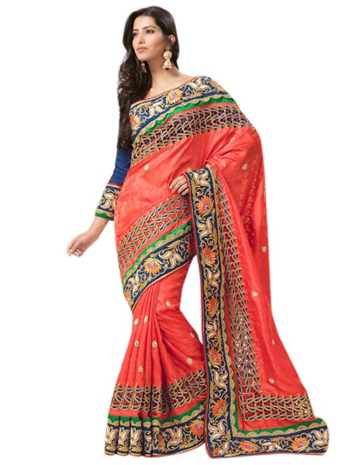 Orange Colored Beautiful Embroidered Georgette Heavy Saree