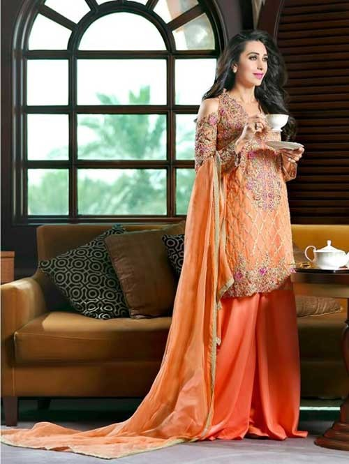 Orange Colored Beautiful Embroidered Georgette Pakistani Suit