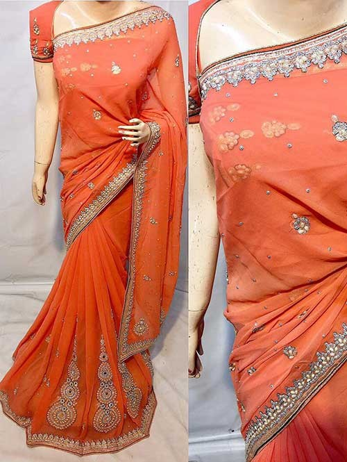 Orange Colored Beautiful Embroidered Georgette Saree