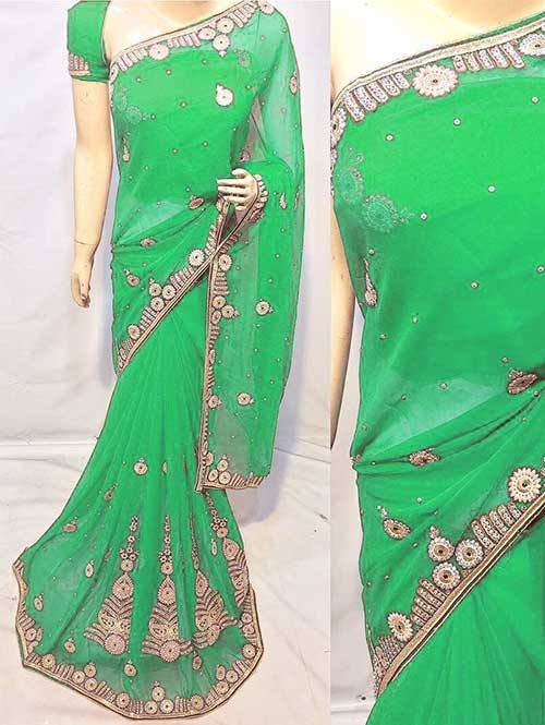 Green Colored Beautiful Embroidered Georgette Saree