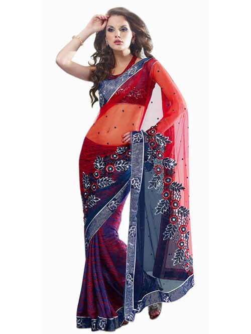 Orange Colored Beautiful Embroidered Net Pallu Brasso Silk Patli Heavy Saree