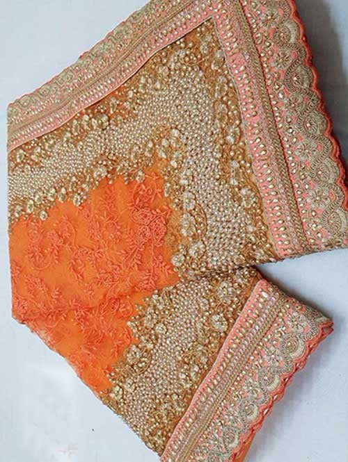 Orange Colored Beautiful Embroidered Net Saree With Dimond work and Pearl work