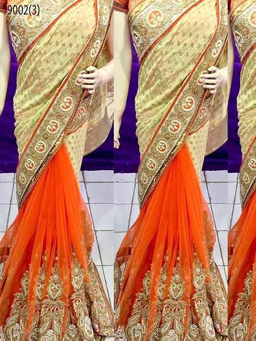 Orange Colored Beautiful Embroidered Pure Viscose Pallu and Net Patli Saree