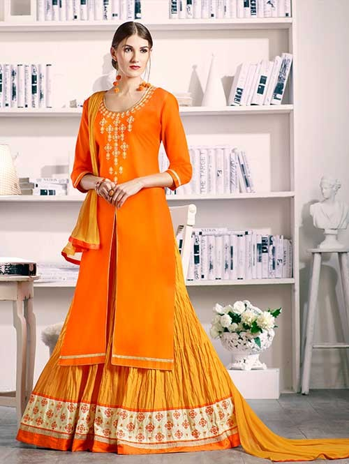 Orange Colored Beautiful Embroidered Silk Cotton Lehenga Suit
