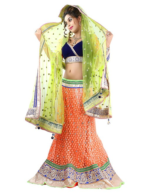 Orange Colored Beautiful Heavy Embroidered Net Lehenga With Beautiful Silk Choli