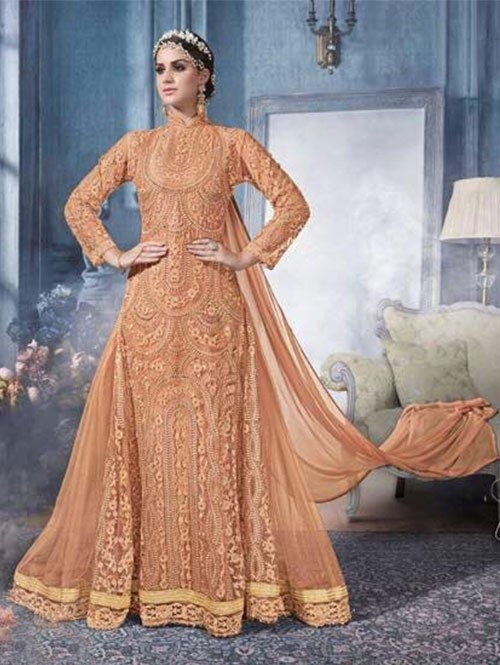 Orange Colored Beautiful Heavy Embroidered Net Suit