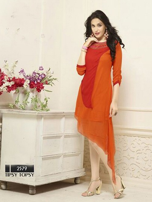 Orange Colored Beautiful Heavy Faux Georgette Designer Kurti.