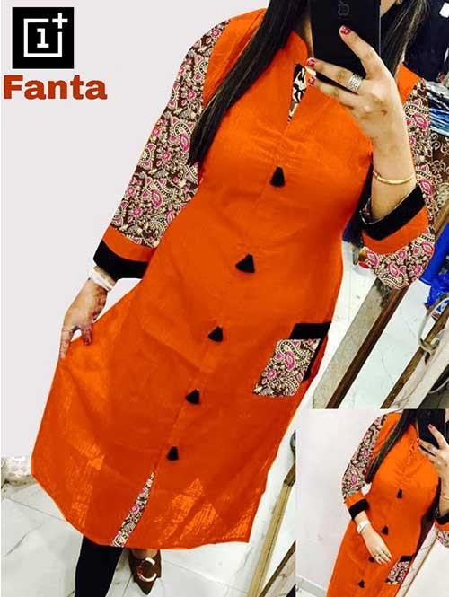 Orange Colored Beautiful Kalamkari Printed Straight Slub Cotton Kurti