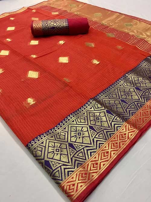 Orange Colored Beautiful Kota Silk Zari Weaving Saree Online - Ruhaani